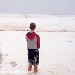 موج های کفی دریا