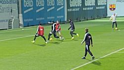 تمرینات بازیکنان بارسلونا برای بازی با لوانته