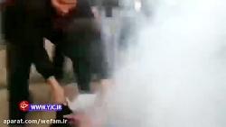 شلیک مستقیم گاز اشک آور...