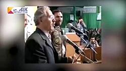 لحظه آسمانی شدن پدر دو شهید در حین سخنرانی