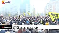 تظاهرات مردم بلژیک علیه پیمان مهاجرتی سازمان ملل