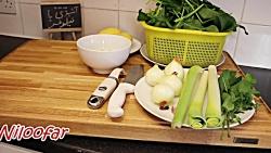 طرز تهیه سوپ اسفناج  بدون شیر یا خامه  ، بسیار خوش رنگ و لعاب