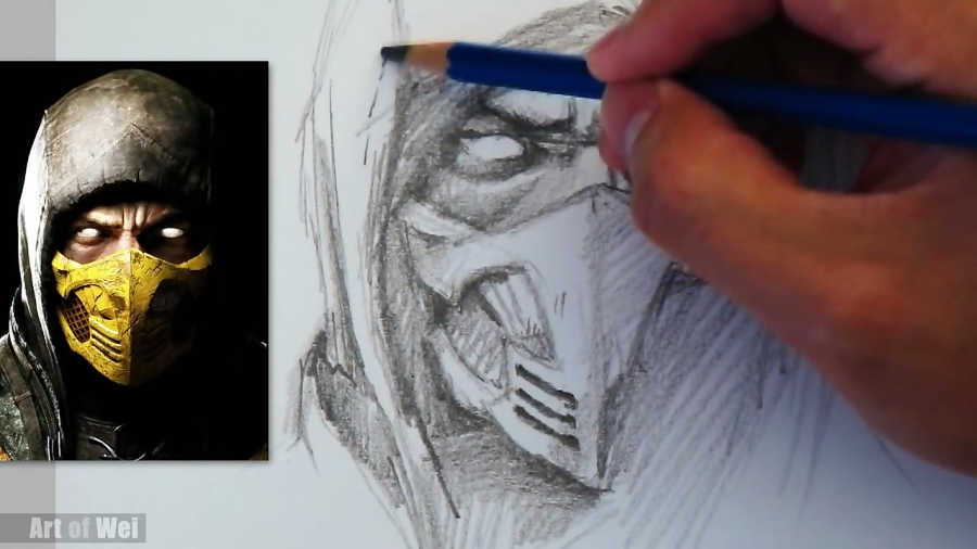 How To Draw Scorpion From Mortal Kombat With Pencil