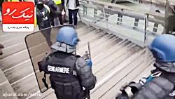 مبارزه بوکسور جلیقه زرد با پلیس ضد شورش فرانسه!