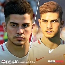 مقایسه چهره در pes 19 و fifa ...