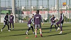 تمرین امروز بارسلونا برای آماده سازی بازی با لوانته