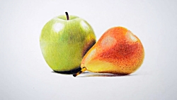 Drawing a green apple and pear -- Faber ca...