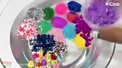 اسلایم  مخلوط جینگلی با اسلایم شفاف