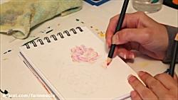 آموزش ترکیب نقاشی با مداد و آبرنگ