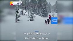 مسابقه جالب سورتمه سواری با سگ در کوه های آلپ