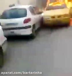 آتش سوزی عجیب تاکسی در ...