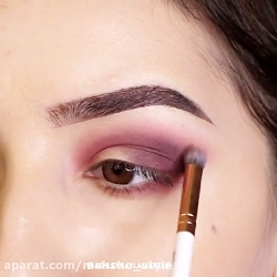 آرایش چشم زیبا و کامل با سایه و مژه مصنوعی