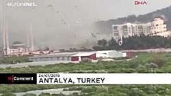 خسارات گسترده طوفان در آنتالیا