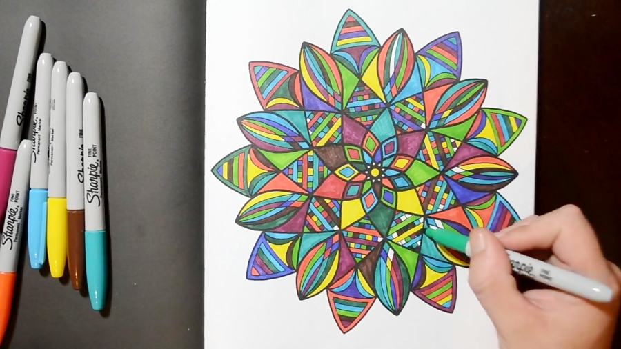 Coloring A Mandala Pattern Design With Sharpies In My New Book