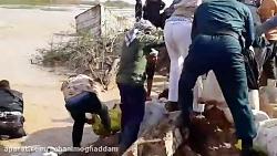 تلاش ارتش، سپاه و مردم شهر رُفَیع برای جلوگیری از ورود سیل به شهر