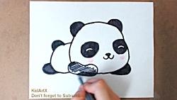 آموزش نقاشی کودک - نقاشی بچه پاندا How to Draw Cute BABY PANDA