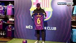اولین حضور مدافع جدید بارسلونا در باشگاه