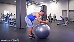 تمرین شکم روی توپ پیلاتس