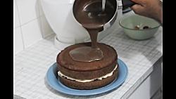 آموزش درست کردن کیک تولد با روکش شکلات - How To Make Very Easy Chocolate Cake