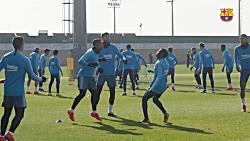 اولین تمرین بارسلونا قبل از بازی با بیلبائو