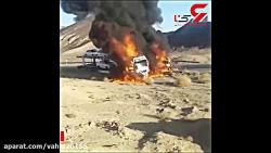 فیلم آتش زدن 2 کامیون حا...