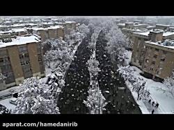 تصاویر هوایی زیبا از راهپیمایی 22 بهمن همدان در زیر بارش برف