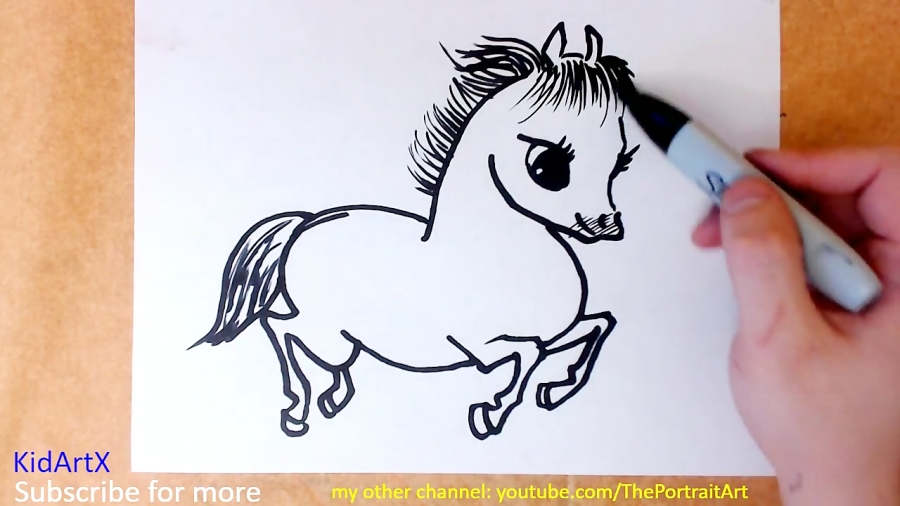 How To Draw Cute Horse Easy Step By Step Tutorial For Kids