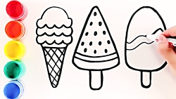 Ice Cream | Coloring and Drawing | Learn colors