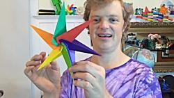 اوریگامی ستاره - آموزش ساخت ستاره کاغذی - کاردستی