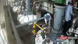 انفجار وحشتناک در راکتور هيدروژنی   کارگر بخار شد