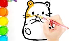 آموزش نقاشی کودکان با رنگ آمیزی اکلیلی همستر و هشت پا