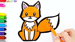 آموزش نقاشی کودکان با رنگ آمیزی روباه-آموزش رنگ ها
