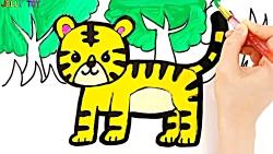 آموزش نقاشی کودکان با رنگ آمیزی ببر و فیل-آموزش رنگها