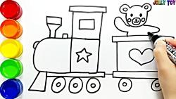 آموزش نقاشی کودکان با رنگ آمیزی قطار و خرس-آموزش رنگ ها