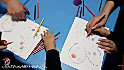 نقاشی با مداد رنگی در گ...