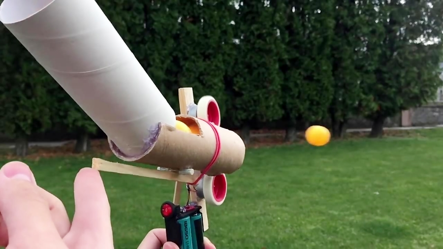How to Make Ping Pong Ball Launcher at Home - Full Auto Electric Machine Gun