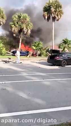 جان باختن راننده تسلا مدل S در حادثه ای هولناک