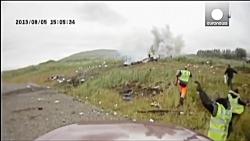 لحظه سقوط هواپیما در پیست اتومبیلرانی در ایسلند