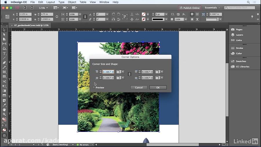 دوره InDesign - اضافه کردن گوشه های گرد و دیگر گزینه های گوشه...