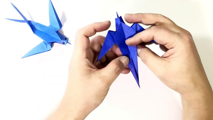 اوریگامی سه بعدی پرنده - آموزش ساخت پرنده کاغذی - کاردستی
