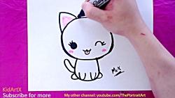 آموزش نقاشی کودکان - نقاشی گربه کارتونی و بامزه