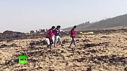 تصاویری از محل سقوط مرگبار هواپیمای اتیوپی