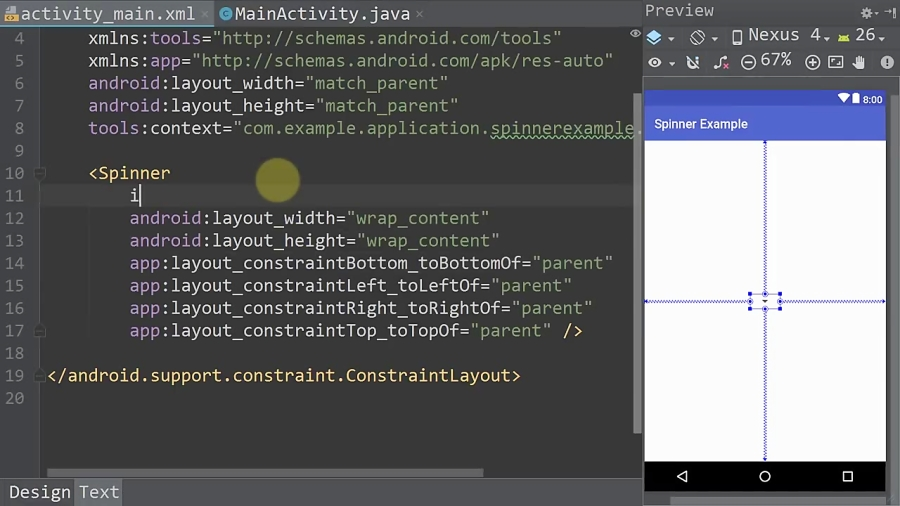 Text Spinner - Android Studio Tutorial