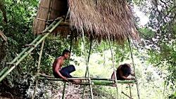 ساختن یه خونه سه طبقه جنگی با بامبو!