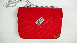 آموزش بافت کیف قلاب بافی ترکیب با چرم فوق العاده زیبا - کیف بافتنی