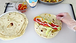 برگر مرغ با نان لواش خانگی Tasty Chicken Wrap With Homemade Tortilla Recipe