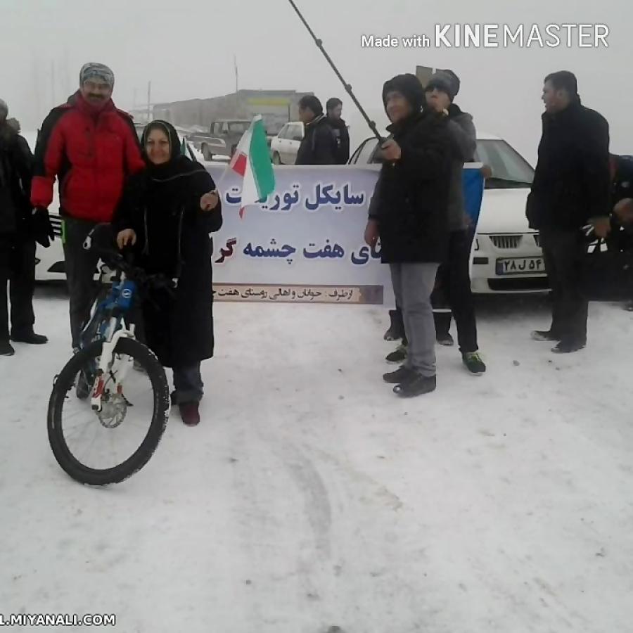رکابزنی در یک روز برفی در کوهستان هفت چشمه