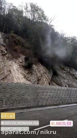 رانش زمین در جاده زیرآب به شیرگاه در سوادکوه مازندران