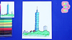 How to draw and color Taipei 101