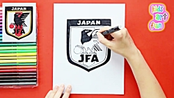 How to draw and color Japan National Football Team Logo